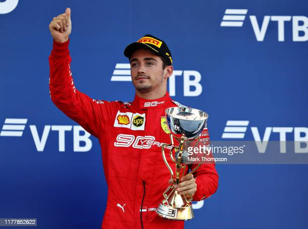 Third placed Charles Leclerc of Monaco and Ferrari celebrates on the podium during the F1 Grand Prix of Russia at Sochi Autodrom on September 29 2019...