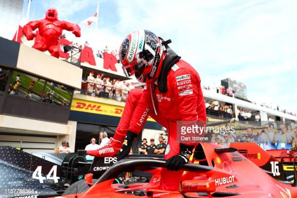 Third placed Charles Leclerc of Monaco and Ferrari climbs from his car in parc ferme during the F1 Grand Prix of France at Circuit Paul Ricard on...
