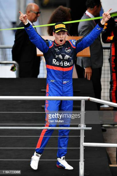 Third placed Daniil Kvyat of Russia and Scuderia Toro Rosso celebrates on the podium during the F1 Grand Prix of Germany at Hockenheimring on July...