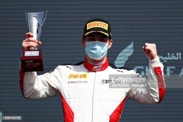 Third placed David Beckmann of Germany and Charouz Racing System celebrates on the podium during Sprint Race 1 of Round 1:Sakhir of the Formula 2...