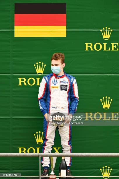 Third placed David Beckmann of Germany and Trident celebrates on the podium during the first race of the Formula 3 Championship at Circuit de...