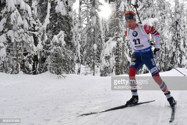 Third placed Erlend Bjoentegaard of Norway competes in the Men 15 km Mass Start Competition of the IBU World Cup Biathlon in Anterselva on January...