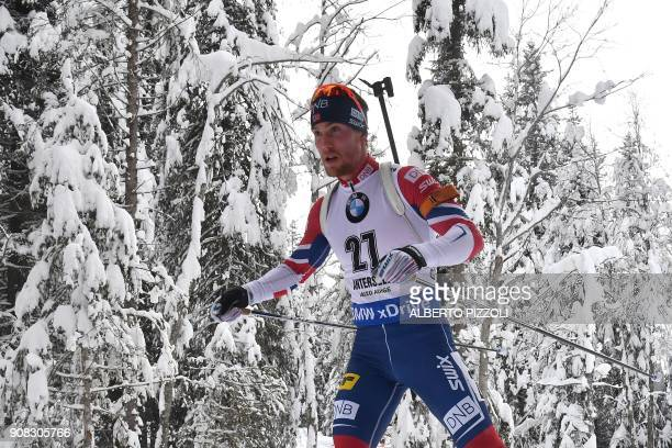 Third placed Erlend Bjoentegaard of Norway competes in the Men 15 km Mass Start Competition of the IBU World Cup Biathlon in Anterselva on January 21...