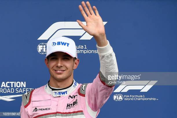 Third placed Force India's French driver Esteban Ocon reacts after the qualifying session at the SpaFrancorchamps circuit in Spa on August 25 2018...