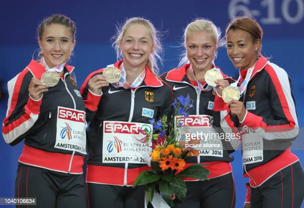 Third placed German 4 x 100 relay team with Rebekka Haase Gina Lückenkemper Lisa Mayer and Tatjana Pinto on the podium at the European Athletics...