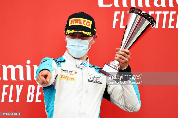 Third placed Jack Aitken of Great Britain and Campos Racing celebrates on the podium during the sprint race of the Formula 2 Championship at...