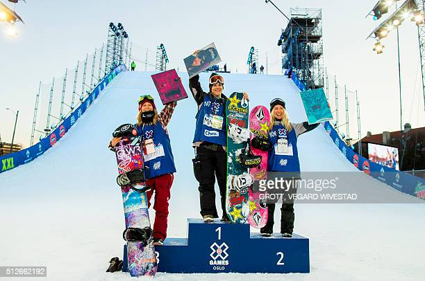Third placed Kjersti Oestgaard Buaas from Norway winner Cheryl Maas from Holland and second placed Christy Prior from New Zealand pose on the podium...