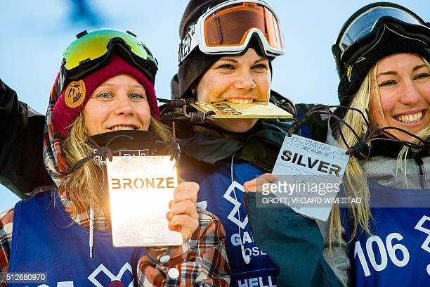 Third placed Kjersti Oestgaard Buaas from Norway winner Cheryl Maas from Holland and second placed Christy Prior from New Zealand pose with medals...