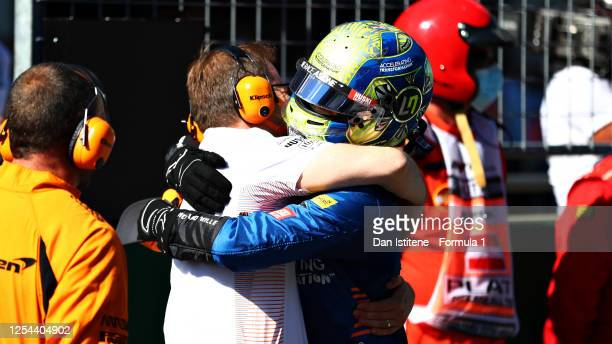 Third placed Lando Norris of Great Britain and McLaren F1 celebrates with McLaren Team Principal Andreas Seidl in parc ferme during the Formula One...