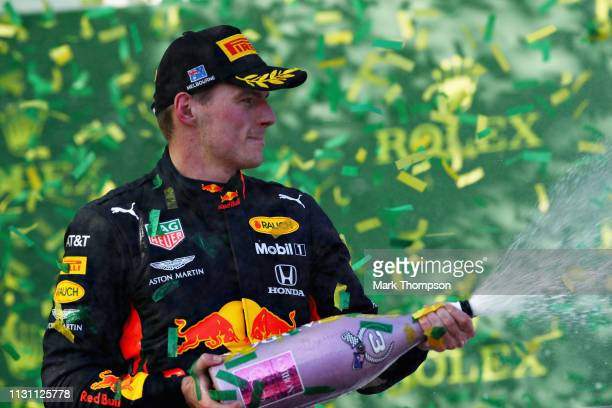 Third placed Max Verstappen of Netherlands and Red Bull Racing celebrates on the podium during the F1 Grand Prix of Australia at Melbourne Grand Prix...