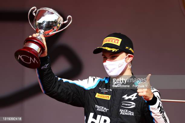 Third placed Oscar Piastri of Australia and Prema Racing celebrates on the podium during Sprint Race 2 of Round 2:Monte Carlo of the Formula 2...
