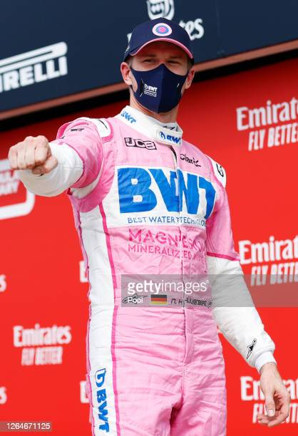 Third placed qualifier Nico Hulkenberg of Germany and Racing Point celebrates in parc ferme during qualifying for the F1 70th Anniversary Grand Prix...