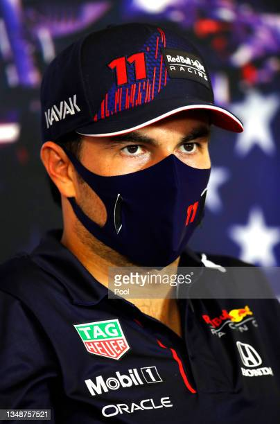 Third placed Sergio Perez of Mexico and Red Bull Racing talks in the press conference after the F1 Grand Prix of USA at Circuit of The Americas on...