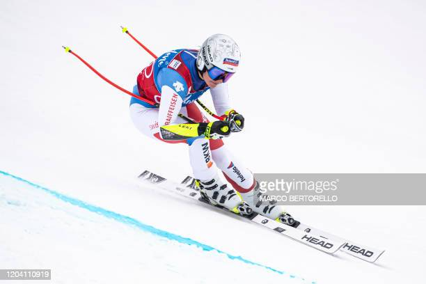 Third placed Switzerland's Corinne Suter competes in the FIS Alpine Skiing World Cup Women's Super G on February 29, 2020 in La Thuile, northern...