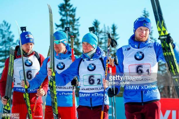 Third placed team Russia with Anton Shipulin Dmitry Malyshko Anton Babikov and Maxim Tsvetkov celebrate after the IBU Biathlon World Cup Men's 4x75...