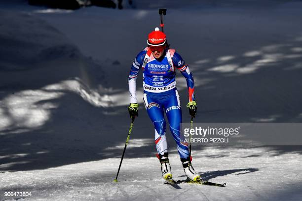 Third placed Veronika Vitkova of Czech Republic competes in the Women's 75km sprint competition of the IBU World Cup Biathlon in Anterselva on...
