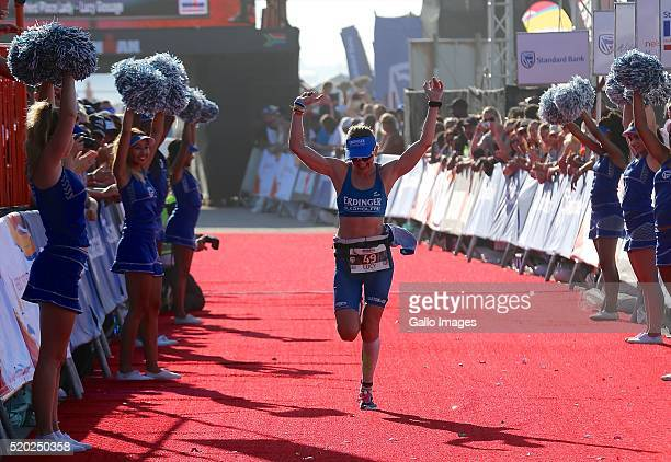 Third placed woman Lucy Gossage during the Standard Bank Ironman South Africa at Nelson Mandela Bay Stadium on April 10 2016 in Port Elizabeth South...