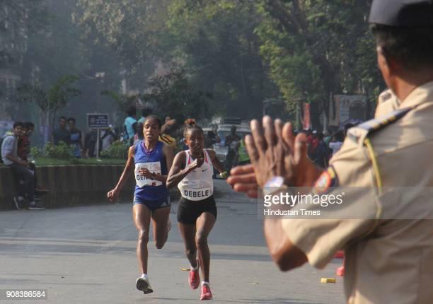 Third position Shuko genemo of Ethiopia women's category of Mumbai Marathon at the finishing line on January 21 2018 in Mumbai India