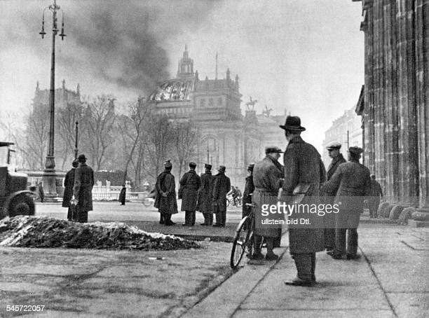 Third Reich, burning of the Reichstag: The Reichstag building on the morning of . Also available in color. Image Number 622566