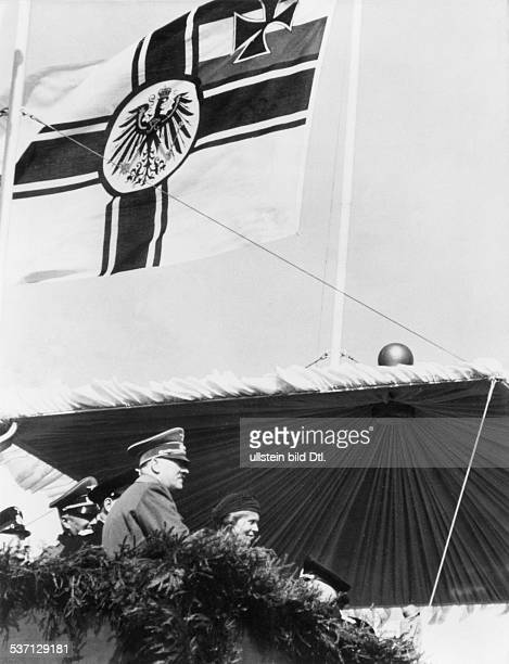 Third Reich Navy Adolf Hitler Politician Nazi Party Germany Hitler at the launch of the battleship 'Tirpitz' in Wilhelmshaven