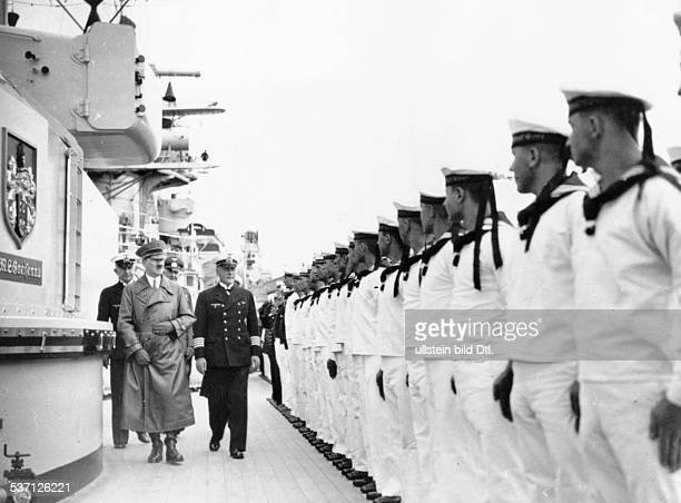 Third Reich Navy Adolf Hitler Politician Nazi Party Germany Hitler walking past a linedup guard of honour of the crew of the battleship 'Admiral Graf...