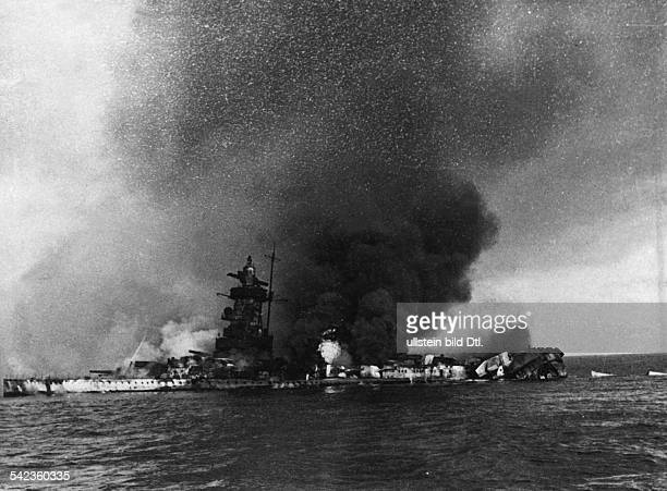 Third Reich Navy German battleship ''Admiral Graf Spee'' blowing itself up in the bay of Montevideo