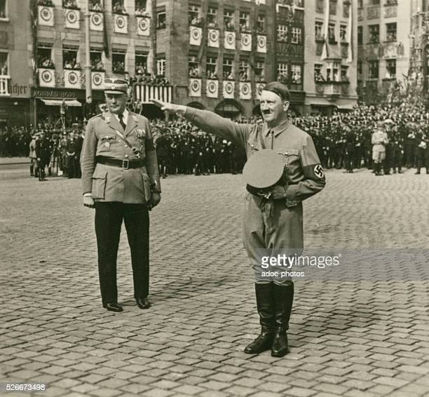 Third Reich Nuremberg Congress of the National Socialist Party in 1936 Adolf Hitler greets the enthusiastic crowds at the parade in Nuremberg In...
