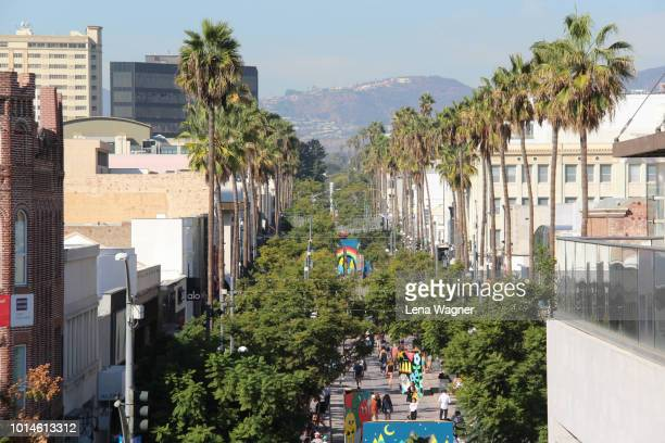 third street promenade lined with palm trees - palm sunday photos et images de collection