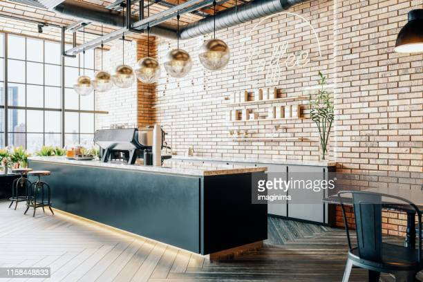 third wave coffee shop interior - no people stock pictures, royalty-free photos & images
