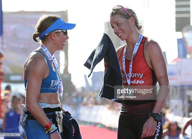 third woman Lucy Gossage and second place Susie Cheetham during the Standard Bank Ironman South Africa at Nelson Mandela Bay Stadium on April 10 2016...