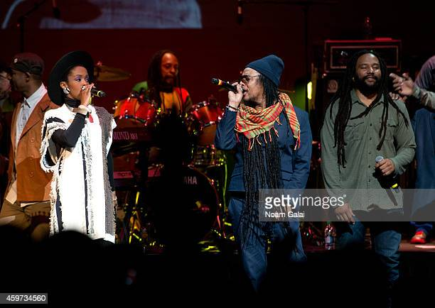 Third World and The Wailers band members perform with Lauryn Hill Maxi Priest and KyMani Marley during The Wailers 30th Anniversary Performance at...