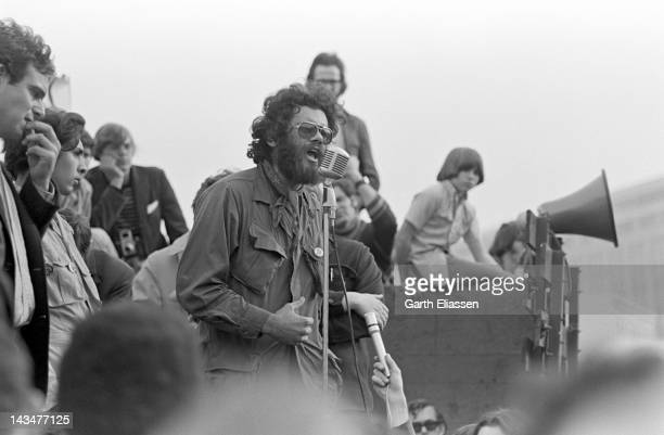 Third World Liberation Front spokesperson Roger Alvarado speaks at a rally in support of a San Francisco State College students strike near San...