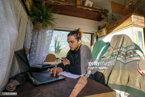 Third year student at Falmouth University, Max Richmond studying in his van on January 07, 2021 in Falmouth, England. Max , 21 from Essex, is taking...