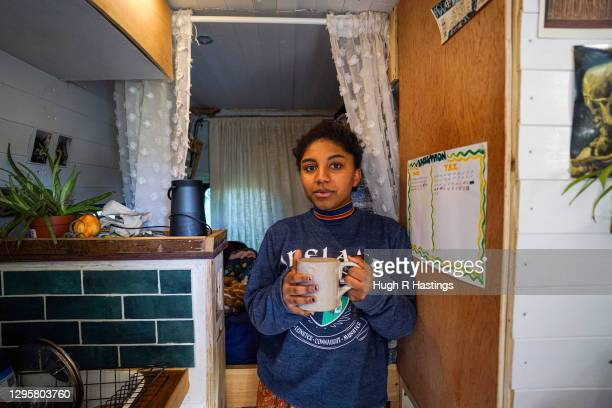 """Third year student at Falmouth University, Yasmine Fosu, in her van on January 07, 2021 in Falmouth, England. Yasmine""""u2019s partner who lives with..."""