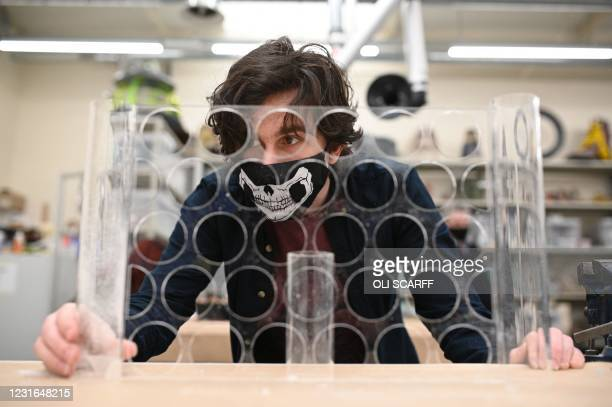Third year student studying model making for TV and film works in a workshop at the University of Bolton in Bolton, northwest England, on March 11,...