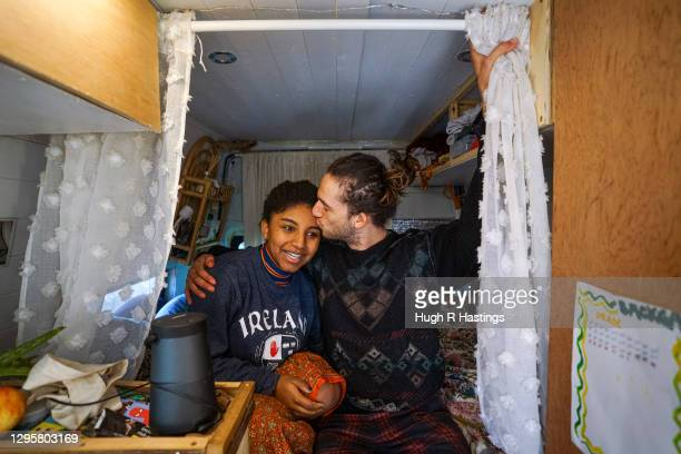 Third year students at Falmouth University, Max Richmond and Yasmine Fosu in their van on January 07, 2021 in Falmouth, England. Max, 21 from Essex,...