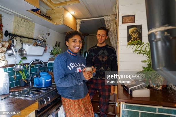 Third year students at Falmouth University, Max Richmond and Yasmine Fosu pose for the photographer in their van on January 07, 2021 in Falmouth,...