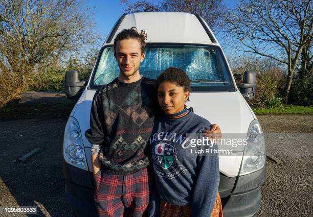 Third year students at Falmouth University, Max Richmond and Yasmine Fosu pose for the photographer outside their van their van on January 07, 2021...