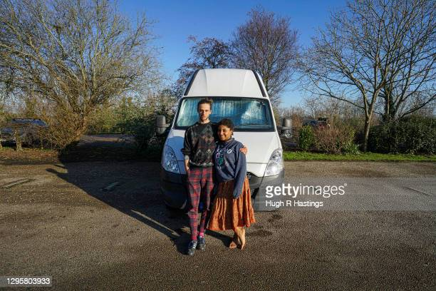 Third year students at Falmouth University, Max Richmond and Yasmine Fosu pose for the photographer outside their van on January 07, 2021 in...