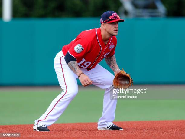 Thirdbaseman Brandon Snyder of the Washington Nationals awaits the pitch from his position during the Naval Academy Baseball Classic game on April 1...