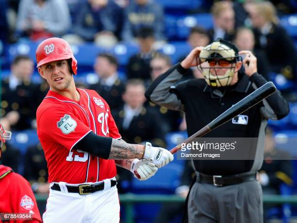 Thirdbaseman Brandon Snyder of the Washington Nationals stands at home plate before an at bat during the Naval Academy Baseball Classic game on April...