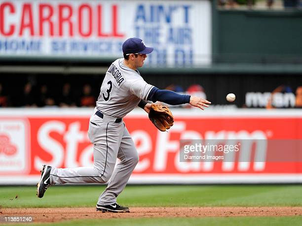 Thirdbaseman Evan Longoria of the Tampa Bay Rays throws the ball to the secondbaseman to start a double play on a groundball hit by firstbaseman...
