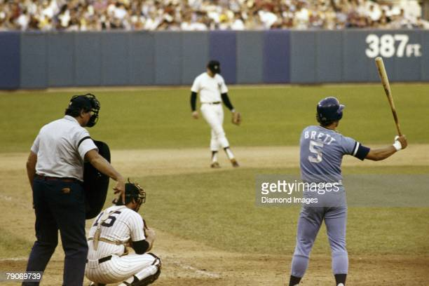 Thirdbaseman George Brett of the Kansas City Royals gets ready for the next pitch during an at bat in the third game of the American League...