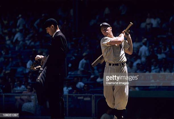 Thirdbaseman Gil McDougald of the New York Yankees takes a practice swing prior to stepping into the batter's box during a game in 1956 at Yankee...