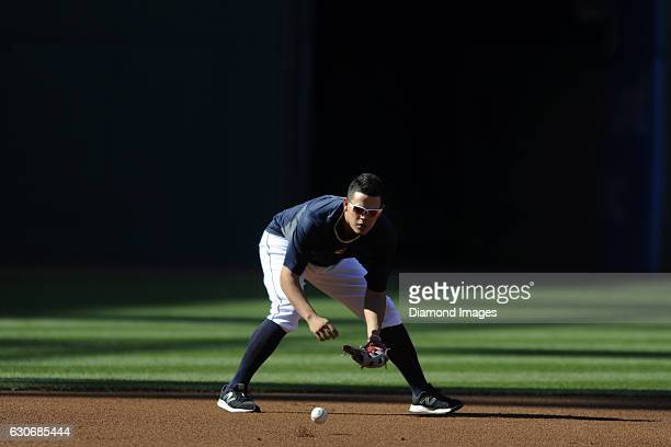 Thirdbaseman Giovanny Urshela of the Cleveland Indians fields a ground ball prior to a game against the Kansas City Royals on September 17 2015 at...