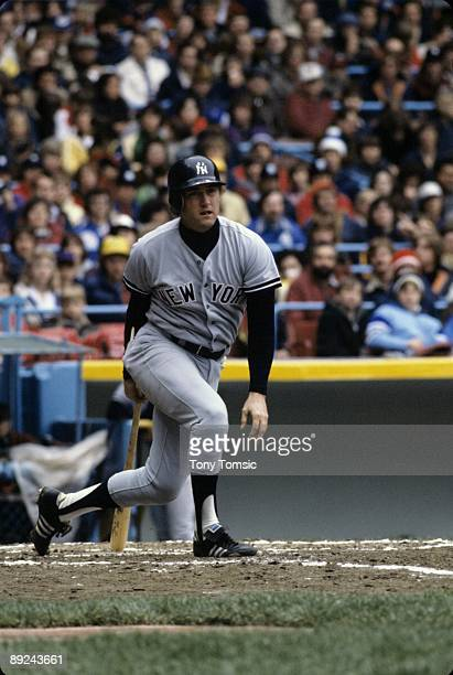 Thirdbaseman Graig Nettles of the New York Yankees follows through after swinging at a pitch during a game in the early1980's against the Cleveland...