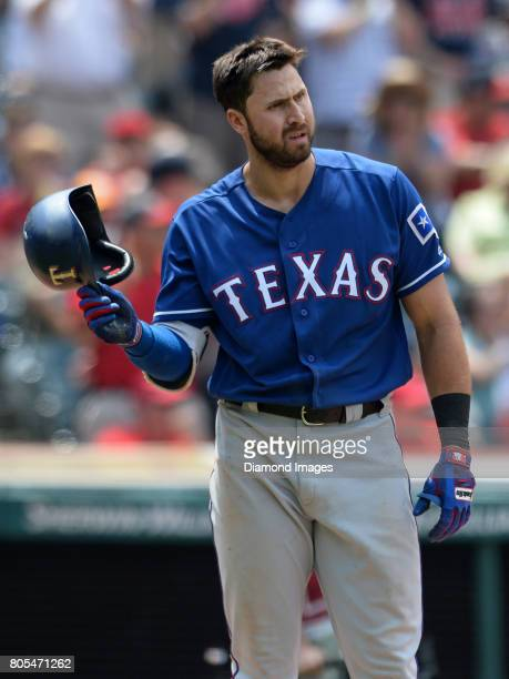 Thirdbaseman Joey Gallo of the Texas Rangers walks toward the dugout after striking out looking to end the top of the eighth inning of a game on June...