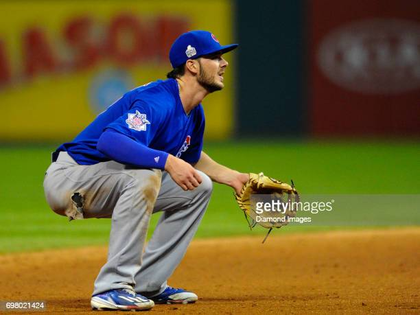 Thirdbaseman Kris Bryant of the Chicago Cubs awaits the pitch from his position in the fifth inning of Game 7 of the World Series against the...