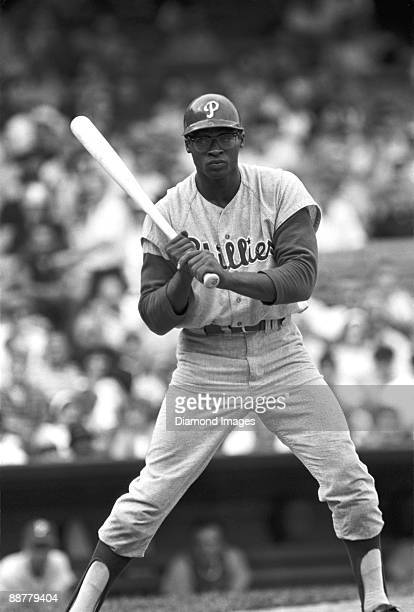 Thirdbaseman Richie Allen of the Philadelphia Phillies takes a pitch during an at bat in a game in 1964 against the Pittsburgh Pirates at Forbes...