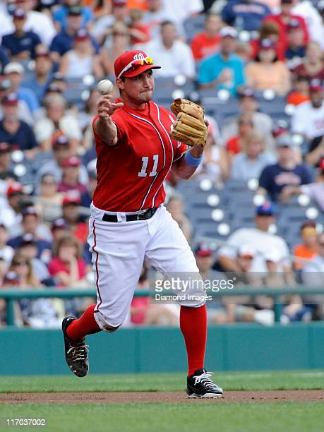 Thirdbaseman Ryan Zimmerman of the Washingtoin Nationals throws the ball to secodnbase after fielding a ball hit by outfielder Nolan Reimold of the...